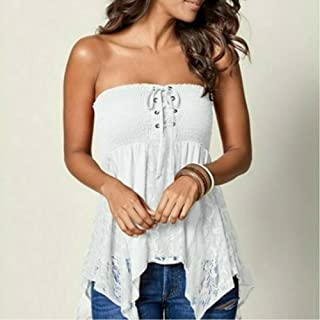 Sexy Lace Up Blouse Shirt Women Fashion Tube Top Tee Lace Patchwork Womens Tops And Blouses Summer Casual Sleeveless Clothes