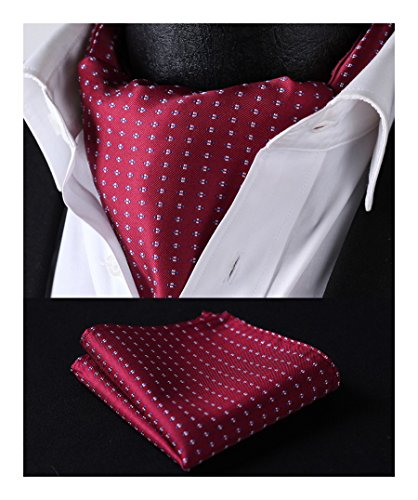 HISDERN Herren Krawattenschal Hochzeit Ascot Krawatte Einstecktuch Set Business Hahnentritt Polka Red Burgunder Weiß