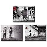 Piy Painting 3X Impresión de la Lona Chica con Globo Rojo La Vida es Hermosa Graffiti Boys en la...