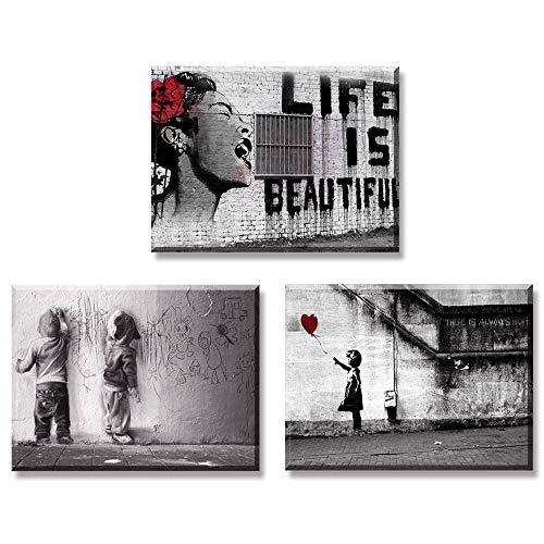 Piy Painting 3X Impresión de la Lona Chica con Globo Rojo La Vida es Hermosa Graffiti Boys en la Calle Decoración Cuadro en Lienzo Sala de Estar Cocina Aniversario 30x40cm