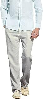 Men's Casual Beach Trousers Elastic Loose Fit Lightweight Linen Summer Pants K70