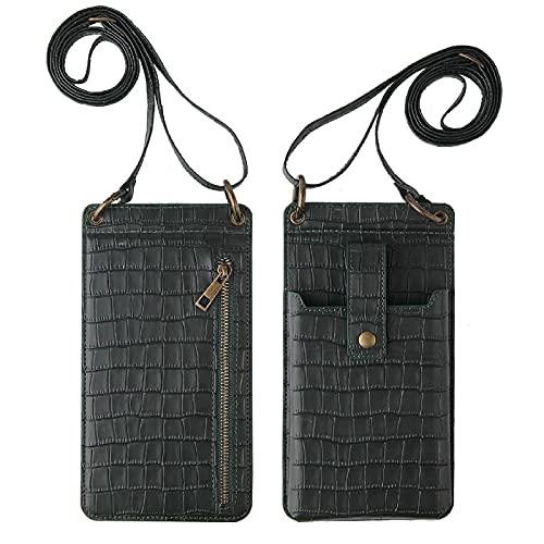 2021 Nuevo monedero con patrón de cocodrilo, bolso multifuncional con patrón de cocodrilo para mujer, billetera liviana con patrón de cocodrilo, bolso de hombro (Black)
