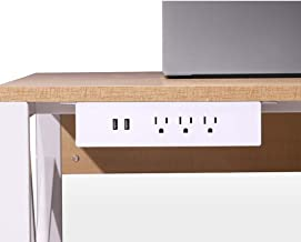Haylink UL Approval Hang on Clamp Mount Desktop Sockets 3 USA Power 2 USB Charger Outlet Surge Protector Power Strips 6ft Cord Home Office Public Desk Plastic Easy Install Hanging Desk