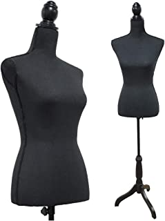 Black Female Mannequin Torso Body Styrofoam Dress Form with Adjustable Tripod Stand for Clothing Dress Jewelry Display