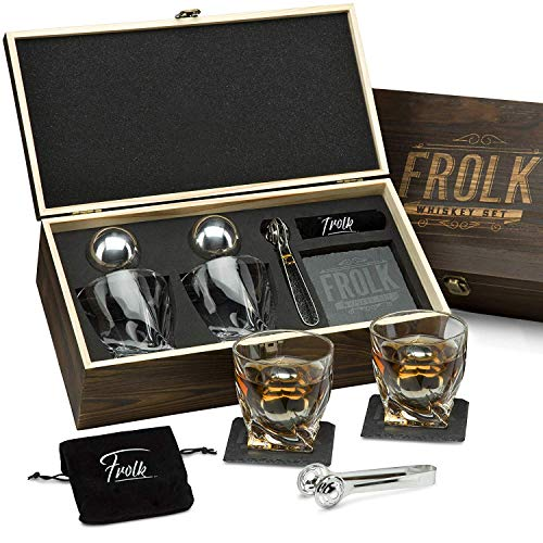 Premium Whiskey Stones Gift Set for Men - 2 King-Sized Chilling Stainless-Steel Whiskey Balls - 2 XL Whiskey Glasses, Slate Stone Coasters, Freezer Pouch & Tongs - Luxury Set in Unique Pine Wood Box