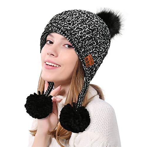 happy event Warmer weicher Beanie drahtloser Bluetooth Hut | Kopfhörer Kopfhörer Lautsprecher Mic Cap (Grau)