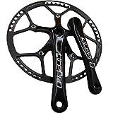 GANOPPERSingle Speed 58 Gear Teeth Big Diameter 130PCD 170mm Crank Arm Brompton Road Bicycle Crankset Easy to Refit 1X 2X 39T 53T Dual Chainrings Fixie Fixed Gear Bike Crankset (58T Black)