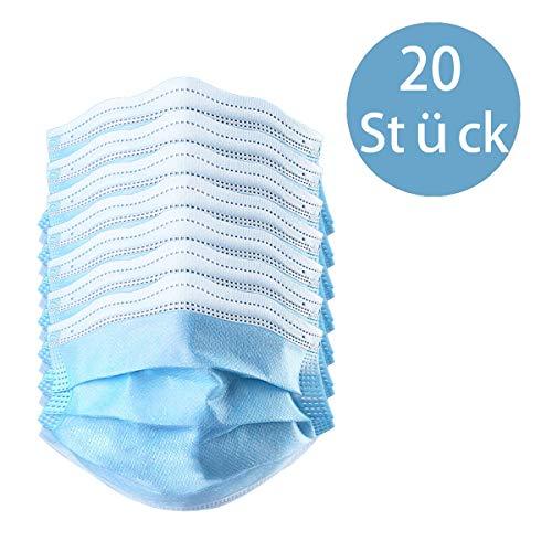 50 Stück Einweg OP-Maske Gesichtsmaske 3-lagig Mundschutz Staubschutz Infektionsschutz Schutzmaske Atemschutzmaske mit Ohrschlaufen schützt vor Verschmutzungen (Blau) (20)