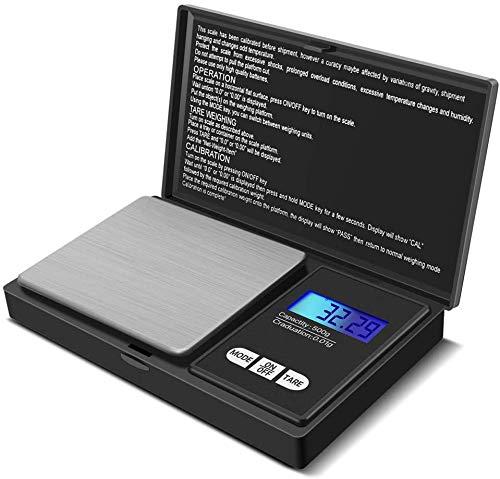 Rico - Báscula de precisión con 7 unidades, 500 g/0,01 g con pantalla LCD, pequeña Báscula de peso, joyas, oro, piedras preciosas, polvo