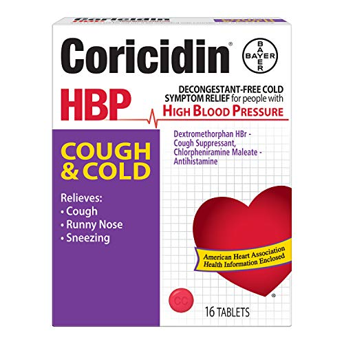 Coricidin HBP Cough and Cold Tablets-16 ct. (Quantity of 5)