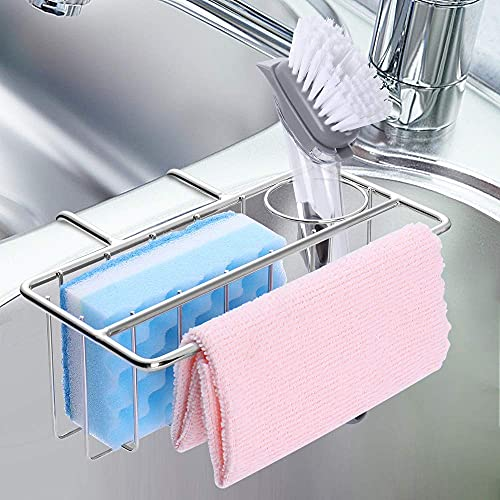 Soporte de esponja para cocina, 3 en 1 para fregadero, cepillo, toalla de plato, organizador de fregadero, escurridor líquido, acero inoxidable SUS304