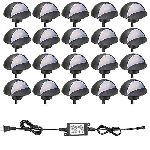 LED Deck Lights Kit, FVTLED Pack of 20 Low Voltage LED Step Stair Lights Φ1.97