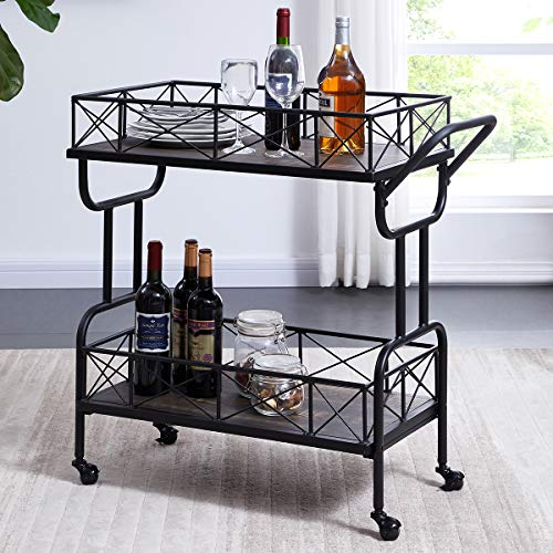 Homissue Rolling Kitchen Serving Cart Bar Buffet Cart, 2 Tier Storage Shelf on Wheels, Grey-Brown