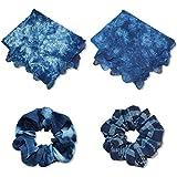 天然藍染 レースハンカチ(2L)とシュシュのセット〔ハンカチ44×44(cm)濃色・淡色、シュシュ〕【ハンカチ淡色・シュシュ(クレープ)】*