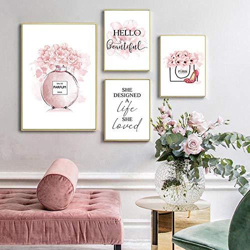 Blume Parfüm Mode Zitate GemäLde Make Up Kunstwerk Poster Blumen Kunstdrucke Auf Leinwand Wandbilder Moderne Wanddeko A3 30x42cmx3 B2 50x70cm Kein Rahmen