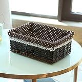 CNMZ Cestas de Almacenamiento de ratán Artículos para el hogar Aperitivos Fruta Restos de lavandería Acabado Cesta de Almacenamiento de Sauce, H, 30x21x12cm