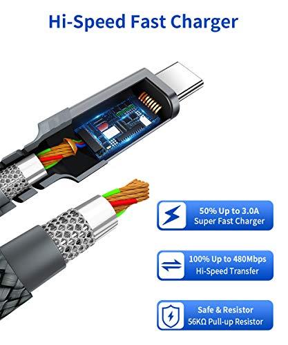 JSAUX USB C auf USB C Kabel [3 Pack 1M+2M+3M] USB Typ C Ladekabel PD 60W(20V/3A) für Galaxy S20/S20+/S10/S9,Note 10,Huawei P30/P20,Google Pixel 3/3a/3a XL,iPad Pro 2018/2020,MacBook,Dell XPS 15 - Grau