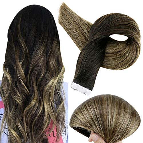 Fshine 12 Inch Balayage Tape in Hair Extensions Stick Double Sided Human Hair Tape in Extensions Color 1B Off Black Fading to 6 Brown and 27 Honey Blonde Remy Tape in Hair 20 Pcs 30 Gram