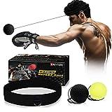 Xnature Reflejo de Boxeo Ball Fight Ball Reflex con Diadema para Fight MMA Training Reacciones de Velocidad (Verde + Negro y Caja)