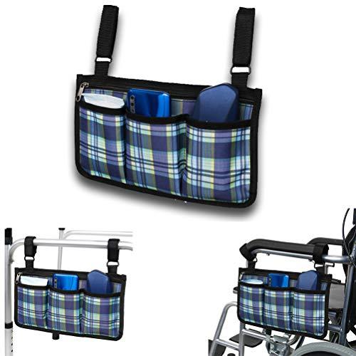 Rollstuhltasche für Armlehne - Rollstuhl Tasche für Rollstuhlarmlehnen, Wasserdichte Tragbare Rollertasche mit 4 Fächern, Blau
