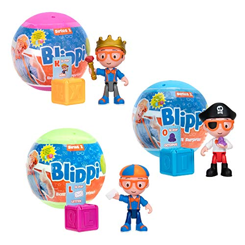 Blippi Ball Pit Surprise, 3 Surprise Balls Featuring a Letter and Word Beginning with That Letter, 1 of 12 Unique Character Toy Figures Inside - Collect Them All - Educational Toys for Kids