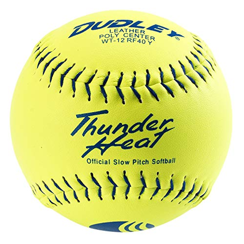 Dudley USSSA Thunder Heat Slow Pitch Classic M Stamp Softball - Leather Cover - 12 pack