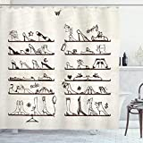 ABAKUHAUS High Heels Duschvorhang, Feminine Schuhe Regale, Personenspezifisch Druck inkl.12 Haken Farbfest Dekorative mit Klaren Farben, 175x220 cm, Dunkelbraun Elfenbein