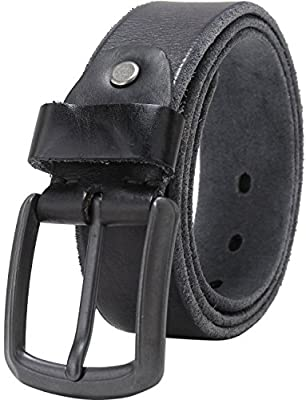 "Men's Full Grain 1 1/2"" Wide Leather Bridle Belt with Anti-Scratch Vintage Buckle"