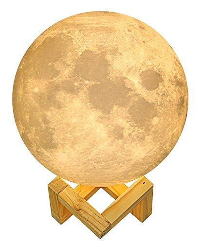 Lámpara luna 3D | La ORIGINAL de Indoostrial | Lámpara LED en forma de luna | Control táctil | Batería incorporada | Luz decorativa de 15 cms | Moon lamp ideal para bebes y niños