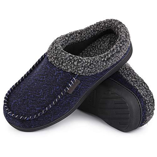 HomeTop Men's Warm Bedroom Memory Foam Slipper Fuzzy Sherpa Lined Slip on House Shoes with Anti-Skid Rubber Sole (11-12, Navy Blue)