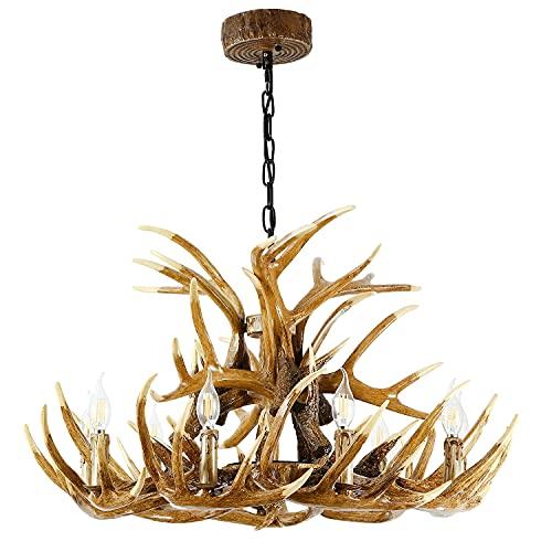 Durahonn Antler Chandelier, 9 Lights E12 Bulbs, Brown Resin Deer Horn Chandelier, Retro Antler Pendant Light for Kitchen, Bar, Living Room, Dining Room (15 Antlers + 9 Lights)