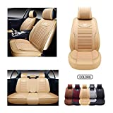 OASIS AUTO Leather&Fabric Car Seat Covers, Faux Leatherette Automotive Vehicle Cushion Cover for Cars SUV Pick-up Truck Universal Fit Set Auto Interior Accessories (OS-008 Full Set, TAN)