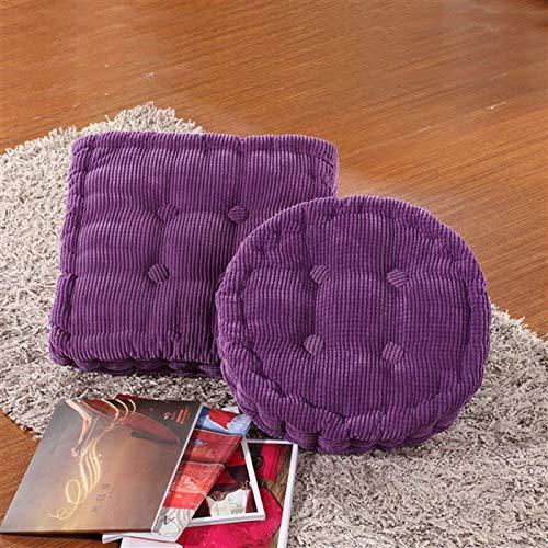 SILUQ Corduroy Tufted Chair Cushion,6cm Thicken Chair Pad,soft Pearl Cotton Padded Seat Cushion,floor Cushion,chair Pillow For Home,office,outdoor Dark purple 45x45cm