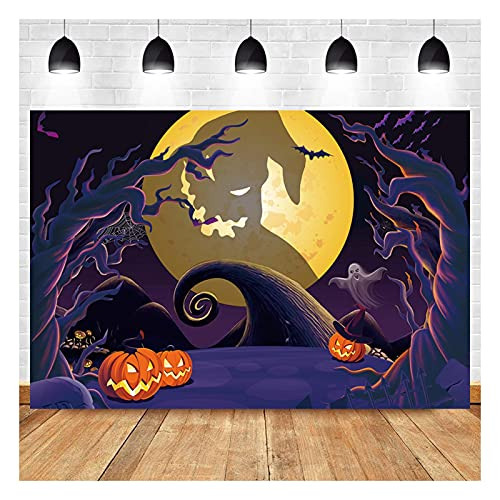 Halloween Pumpkin Jack Theme Photography Backdrops 7x5ft Nightmare Before Christmas Horrible Moonlight Children Birthday Baby Shower Photo Background Family Home Decor Shoot Booth Vinyl