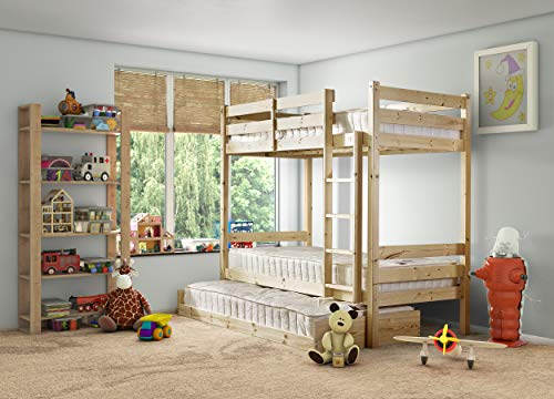 Strictly Beds and Bunks - Everest Classic Bunk Bed with Trundle Pull-out Guest Bed, 2ft 6 Single