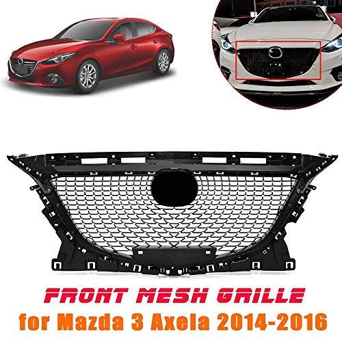 QQKLP ABS Black Front Grille Auto Grill Fit für Mazda 3 Axela 2014 2015 2016 Diamant-Ober Grills Schutz Car Styling Zubehör,Schwarz