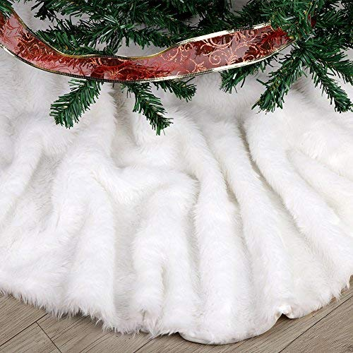 FDY MY Extra Large Christmas Tree Skirt 60 inches Pure White Faux Fur Tree Skirt for Merry Christmas & New Year Party Holiday Home Decorations