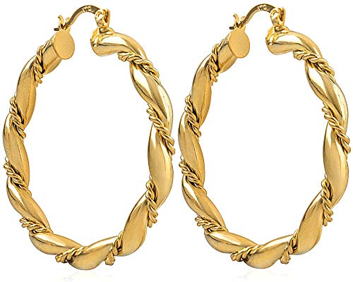 Vonchic Rope Detailed Creole Hoop Earrings 9ct Gold Filled Twisted Hoops New Womens Girls