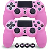 Sofunii 2pcs Pink Skin for PS4 Controller, Anti-Slip Silicone Case Protector Cover with 4 Cat Claw Thumb Grip Caps, Compatible with PS4 Slim/Pro Controller Wireless/Wired Gamepad