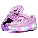 HANHJ Zapatos Patines Rodillos Intermitentes LED con 2 Ruedas Zapatos Patinaje Luminoso Zapatos Parkour Gimnasia Moda Zapatilla Rodillo De para Niños,Pink-29