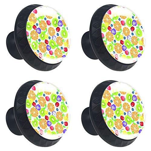 Schedels en bloemen op donkere achtergrond dressoir ronde knoppen (4PCS) - kleurrijke decoratieve bloemenlade handvat Home Decor Hardware Pull knoppen 3.5×2.8CM / 1.38×1.10in Multi10