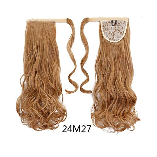 24'' Long Wavy Ponytail Natural Clip In Pony Tail Hair Extensions Wrap On Fake Hair Piece Fake Hair Tail Ponytails,4/27HL,24inches
