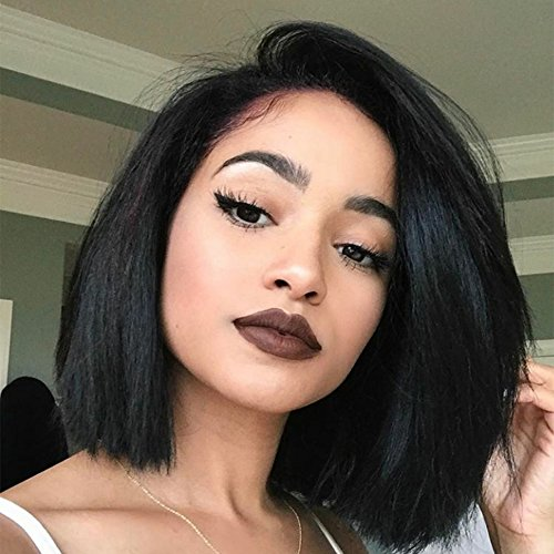 Yaki Straight Short Bob Haircut Front Lace Wig Brazilian Virgin Human Hair Wigs for Women Black Color (10 Inch, Full Lace Wig)
