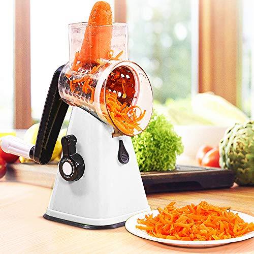 ARTETHYS Rallador de queso 3 en 1, cortador de frutas, tambor giratorio con 3 cuchillas giratorias de acero inoxidable (blanco)