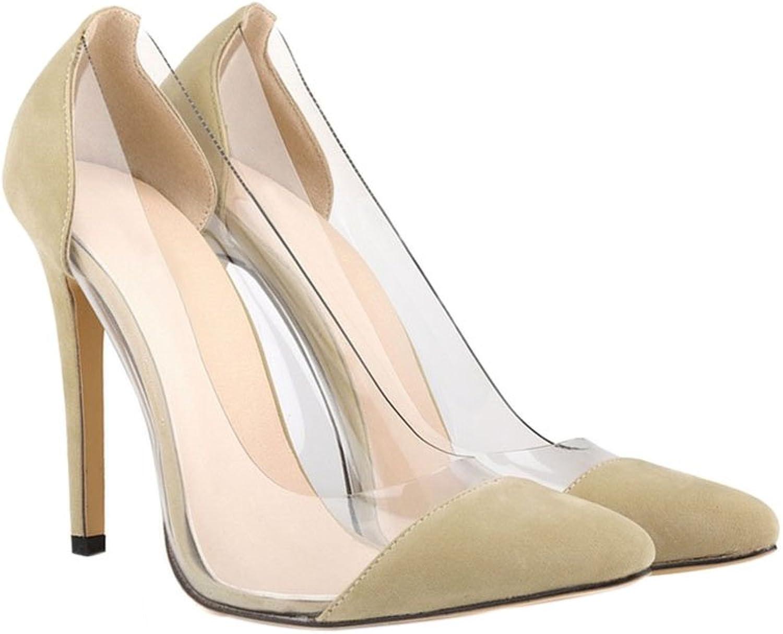 Meijunter Women Transparent Suede Shallow Mouth 11CM High Heel Pumps Single shoes Apricot