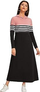 Black Color lock Striped Tee Dress