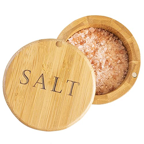 """Totally Bamboo Salt Box, Bamboo Storage Box with Magnetic Swivel Lid, """"Salt"""" Engraved on Lid"""