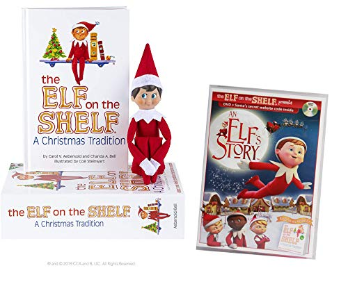 The Elf on the Shelf Christmas Tradition with North Pole Blue Eyed Boy Elf with DVD