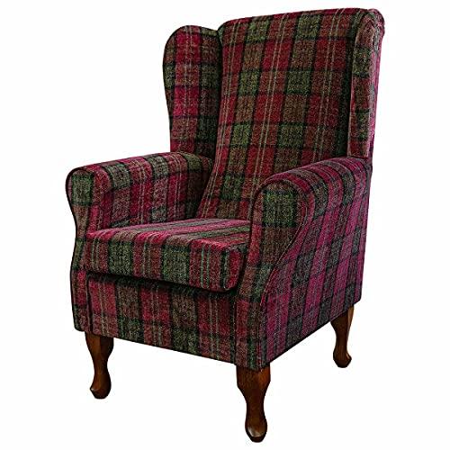 Beaumont Fabrics High Wing Back Fireside Chair - Premium Red Lana Tartan - Comfy Armchair With Hardwood Queen Anne Legs (Light Oak)