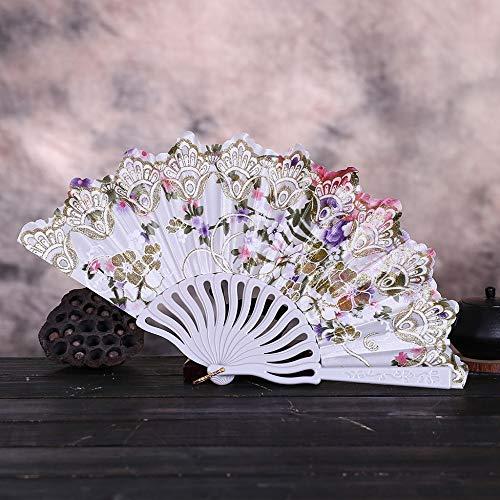 ZYHMXM Folding Fan, Vintage Kant Chinese Stijl Dans Bruiloft Hand Fans Feestjurk Accessoires Wit Vouwen Zomer Held Bloemen Fan